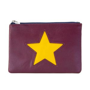 Burgundy coin purse with yellow star