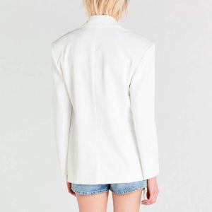 Long white two-button jacket