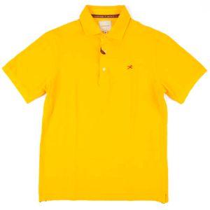 Yellow polo shirt in pure cotton pique