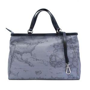 Geo print gray handbag