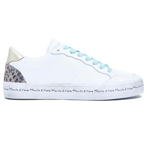 White sneakers with animalier heel