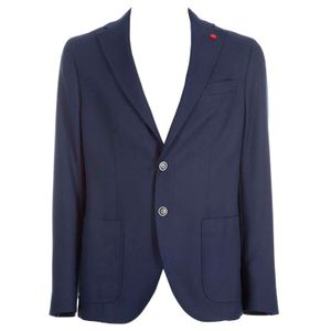 Navy blended cotton and virgin wool jacket