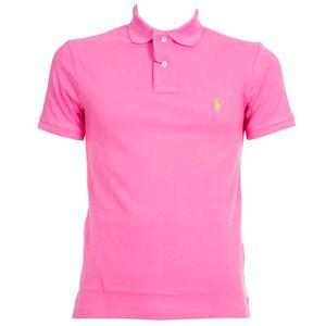 Pink slim fit piqué polo shirt