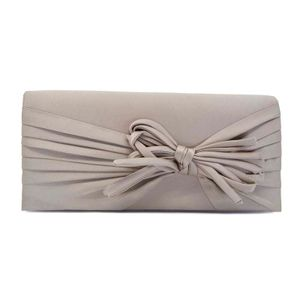 Beige clutch bag with bow