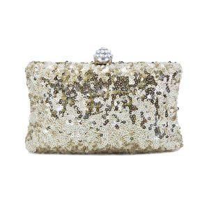Mini clutch bag with golden sequins