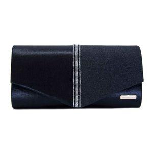Black clutch bag with rhinestones and lurex