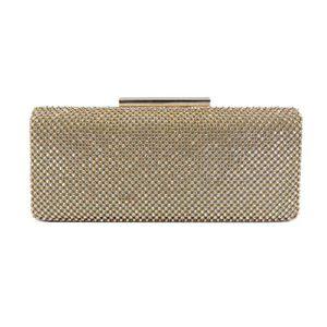 Rigid clutch bag with rhinestones