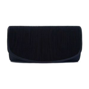 Black clutch bag with striped pattern