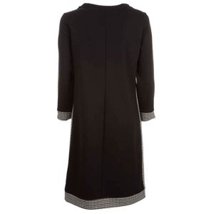 Viscose dress with houndstooth inserts