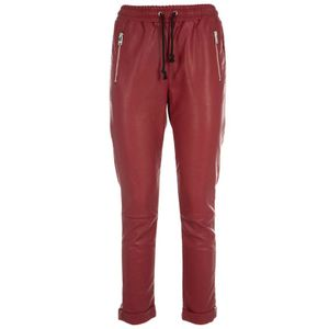 Bloody red faux leather trousers