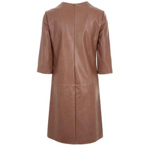 Brown dress in coated viscose