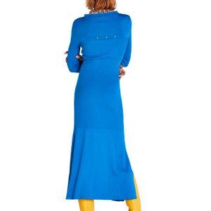 Long blue ribbed dress