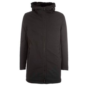 Black parka with lined hood