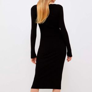 Long black viscose knit dress