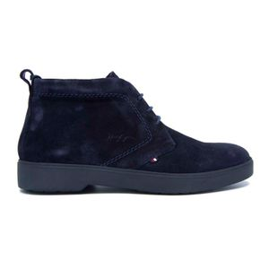 Blue suede ankle boot with flag