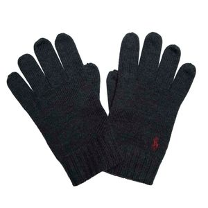 Gray wool gloves with pony