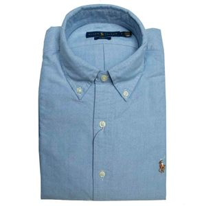 Light blue slim fit shirt in pique cotton with logo