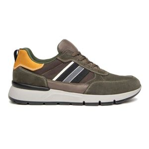Sneakers in suede leather and fabric