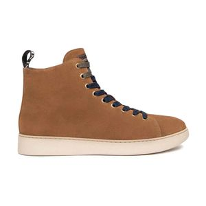 High sneakers in suede with contrasting laces