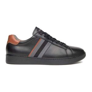 Leather sneakers with side band