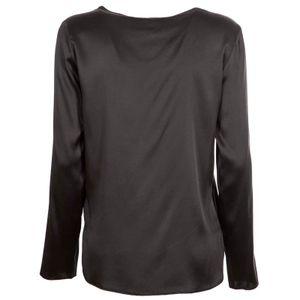 Black Moldava silk satin blouse