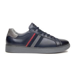 Blue leather sneakers with side band