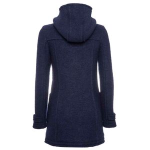 Blue coat in boiled wool with hood