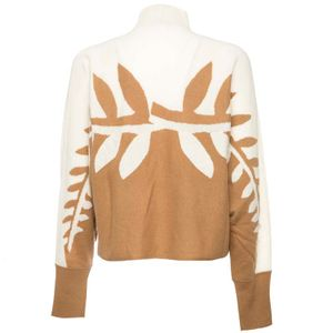 Beige wool sweater with inlays