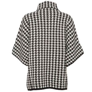 Houndstooth knit coat