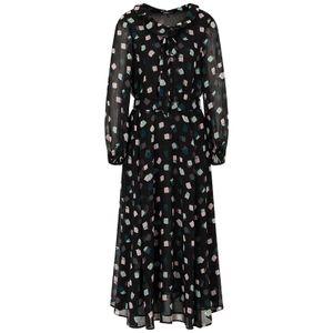 Black dress with pastel geometric print