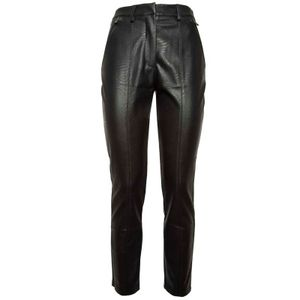 Chino trousers in black eco-leather