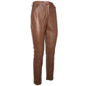 Brown faux leather chino trousers