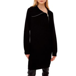 Knitted dress with oblique zip