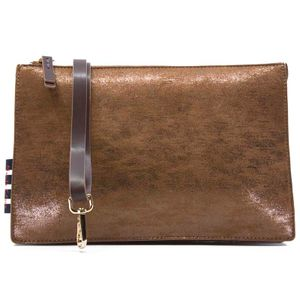Brown clutch bag in laminated fabric