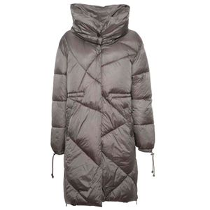 Gray quilted down jacket with high collar