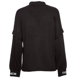 Black viscose sweatshirt with shiny logo