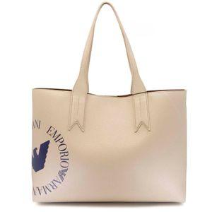 Beige Shopper bag with blue logo