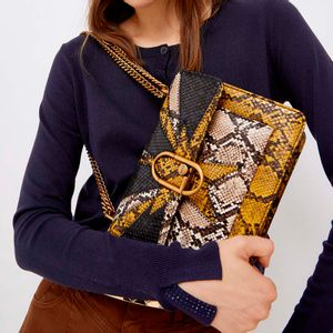 Faux leather python print shoulder strap