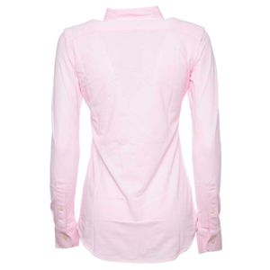 Pink cotton pique shirt with pony