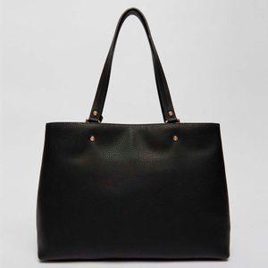 Shopper bag with maxi logo and pompom