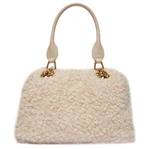 Beige teddy effect satchel