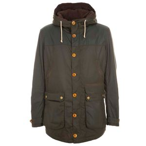 Game green parka with faux fur lining