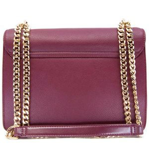 Faux leather shoulder strap with flap and shiny logo